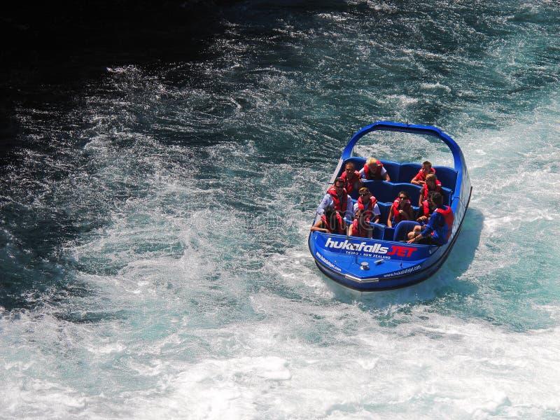 Jetboat ride at Huka falls royalty free stock photos