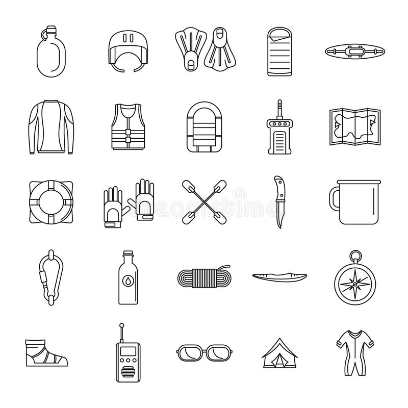 Rafting kayak water canoe icons set, outline style royalty free illustration