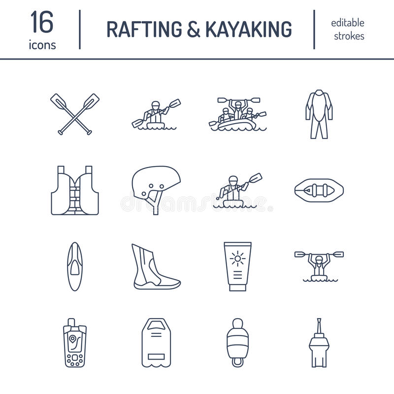 Rafting, kayaking flat line icons. Vector illustration of water sport equipment - river raft, kayak, canoe, paddles. Life vest. Linear signs set, summer vector illustration
