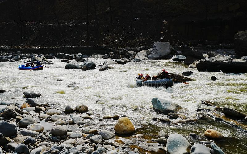 Rafting , Kullu  ,India. Rafting on river Beas in  Kullu  ,Sunny day.  North India stock photos