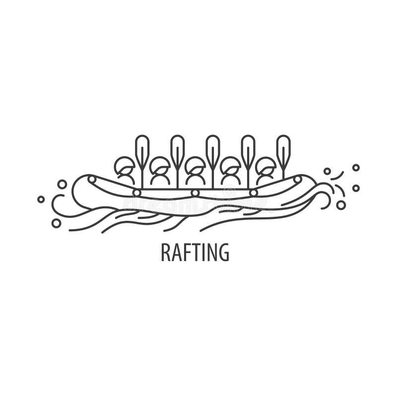 Rafting line icon stock illustration