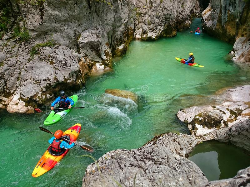 Rafting. People rafting on Soca river in Slovenia royalty free stock photography