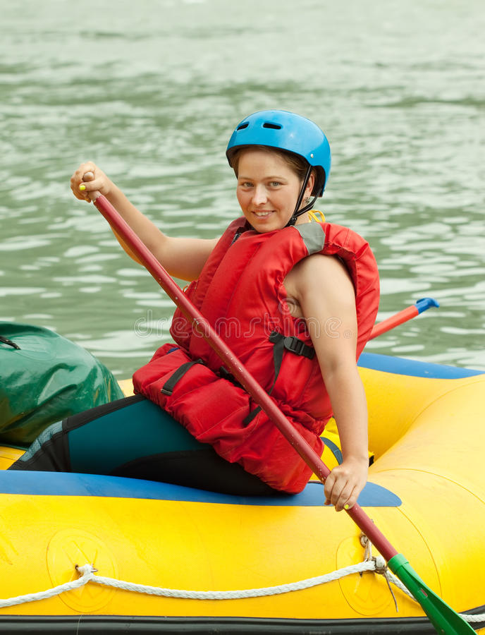 Rafting on the raft stock image