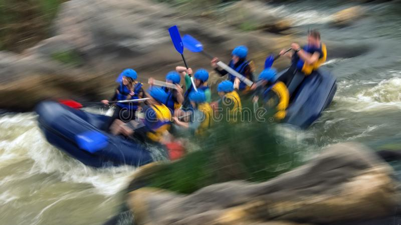 Rafting on rapids of the Southern Bug River, Migiya stock images