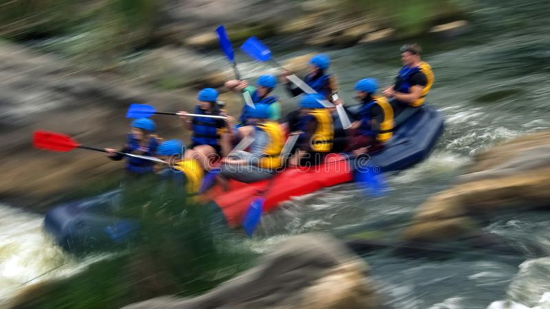 Rafting on rapids of the Southern Bug River, Migiya stock photo