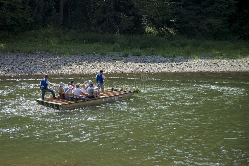 Rafting on river Dunajec, Slovakia. Mountains, trips. stock photos
