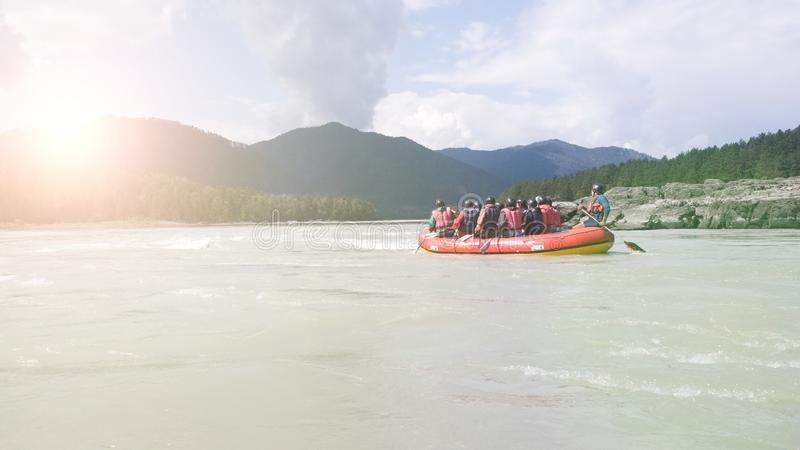 Rafting on the river Katun in the Altai region in Russia. The glare of the sun. Morning outdoor activities. Travelling to Siberia.  stock images