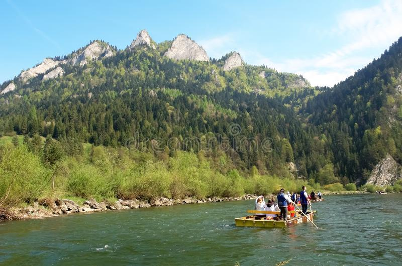 Rafting on the river in the Slovak mountains in spring royalty free stock images