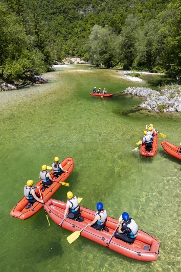 Rafting, Sava Bohinjka in Triglav national park, Slovenia royalty free stock photo