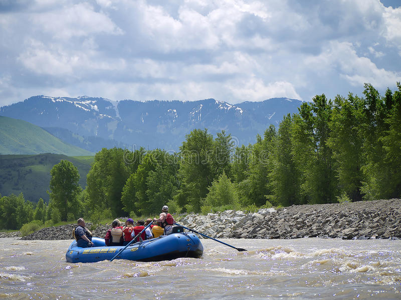 Rafting on the Snake River in Grand Teton National Park USA. Grand Teton National Park is a United States National Park located in northwestern Wyoming, U.S stock photos