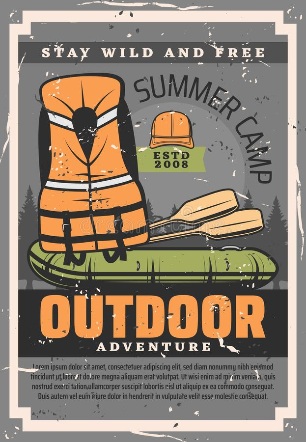 Rafting sport adventure training and equipment. Rafting adventure training courses club and school. Vector vintage poster of rafting boat with paddles and rafter royalty free illustration