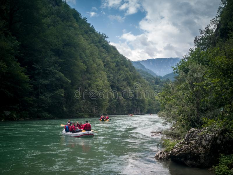 Rafting in tara and drina river. This is picture taken on a rafting on the Tara river. Drina river goes through Bosnia and Herzegovina and Monte negro in the royalty free stock photo