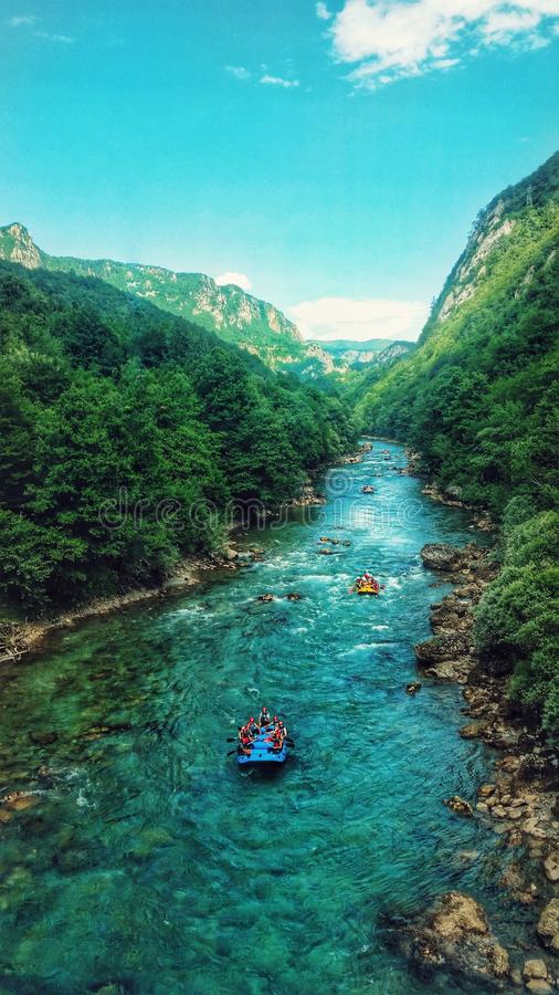 Bluewater river rafting. Rafting on the Tara river royalty free stock photography