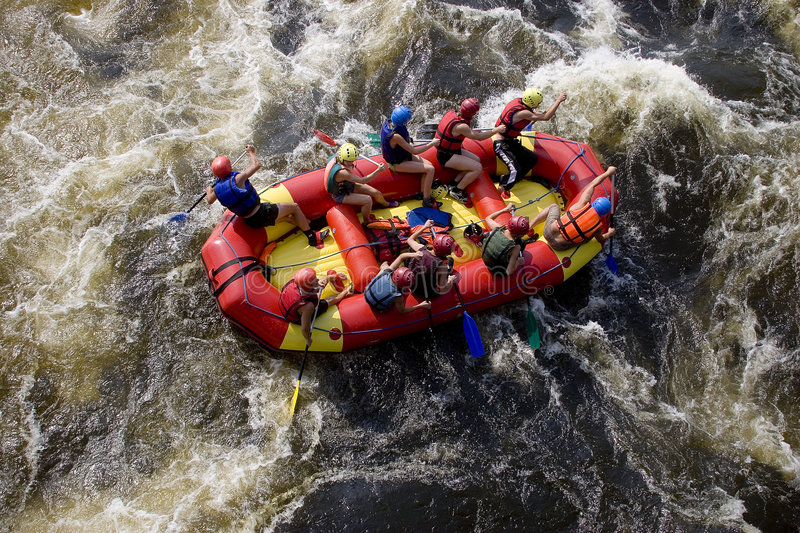 Rafting team stock photography