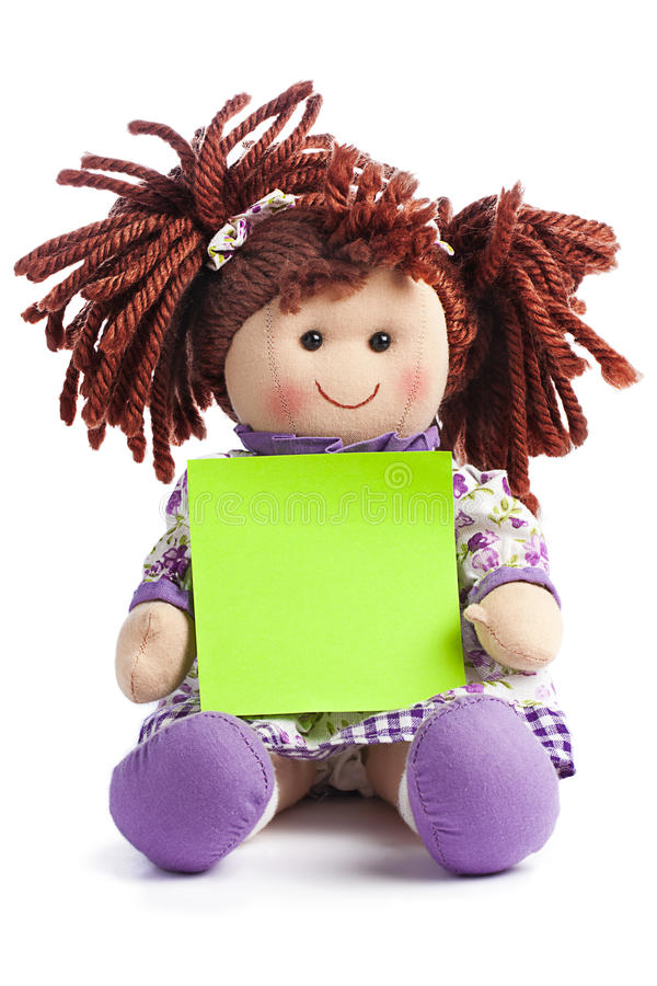 Rag Doll Fabric Blank Post-it Copyspace Message royalty free stock photo