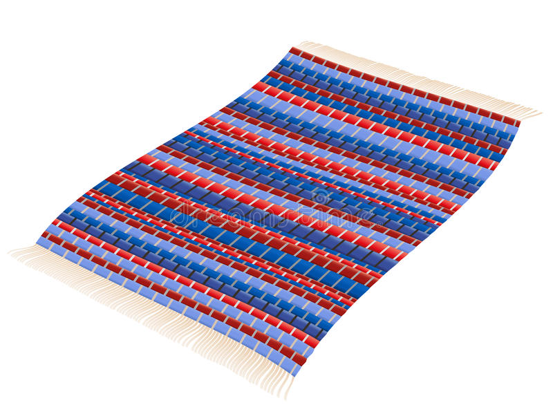 Rag Rug Red Blue Vintage Carpet. Rag rug - red and blue woven vintage patchwork mat flying like a magic carpet. Isolated vector illustration over white vector illustration