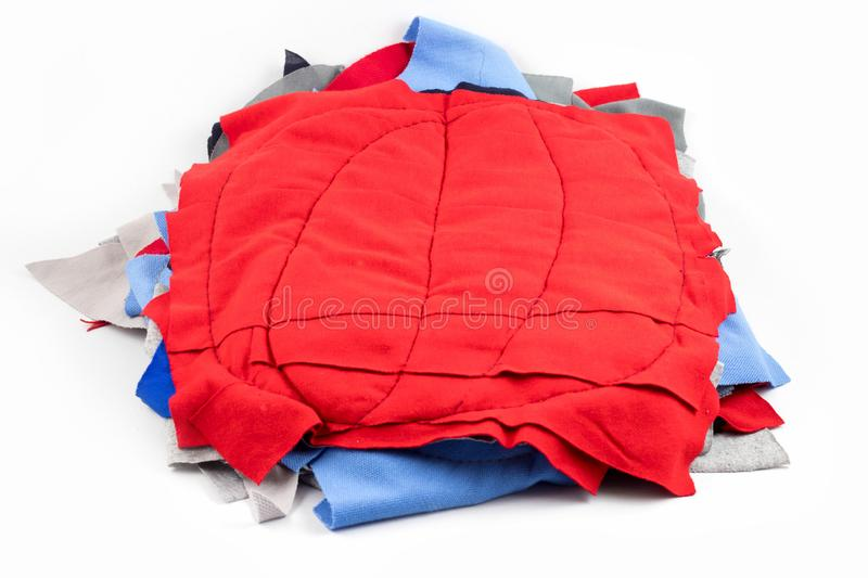 Rag used for cleaning,colorful cotton worker cleaning isolated on white background. Cloth, closeup, textile, hygiene, towel, material, texture, dirty, object royalty free stock image