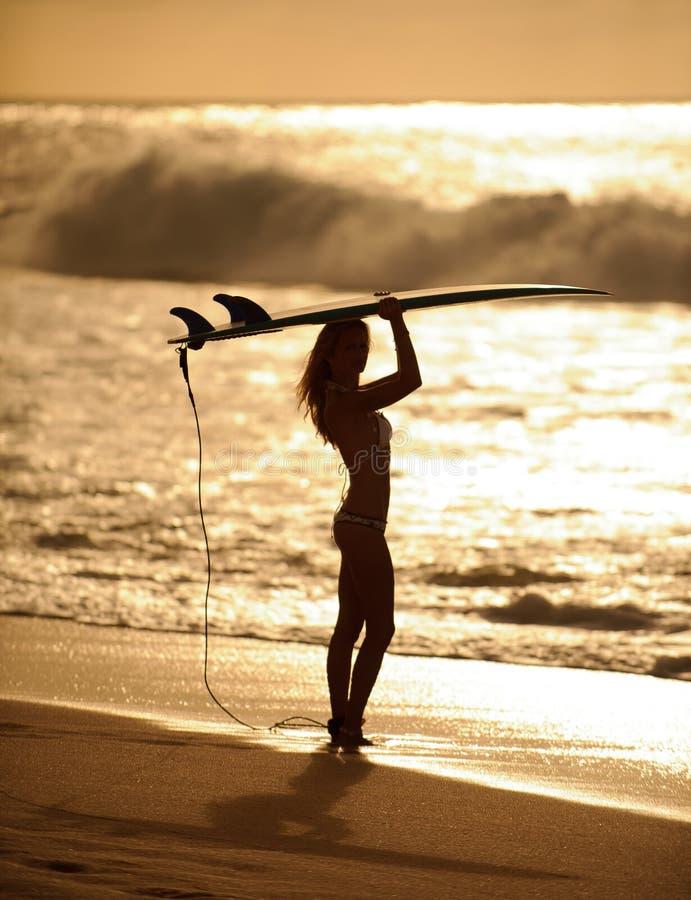 Ragazza 5 del surfista di tramonto fotografia stock libera da diritti