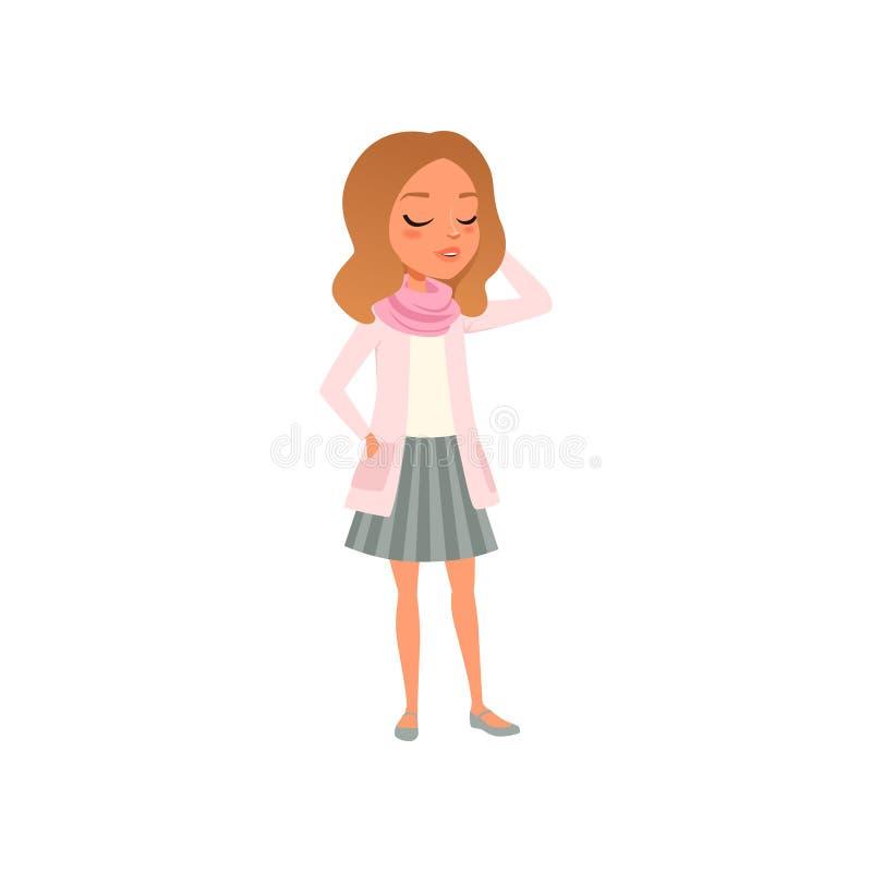 Ragazza abbastanza castana che posa in maglietta, rivestimento rosa, sciarpa e gonna barrata Vestiti femminili alla moda Adolesce illustrazione di stock