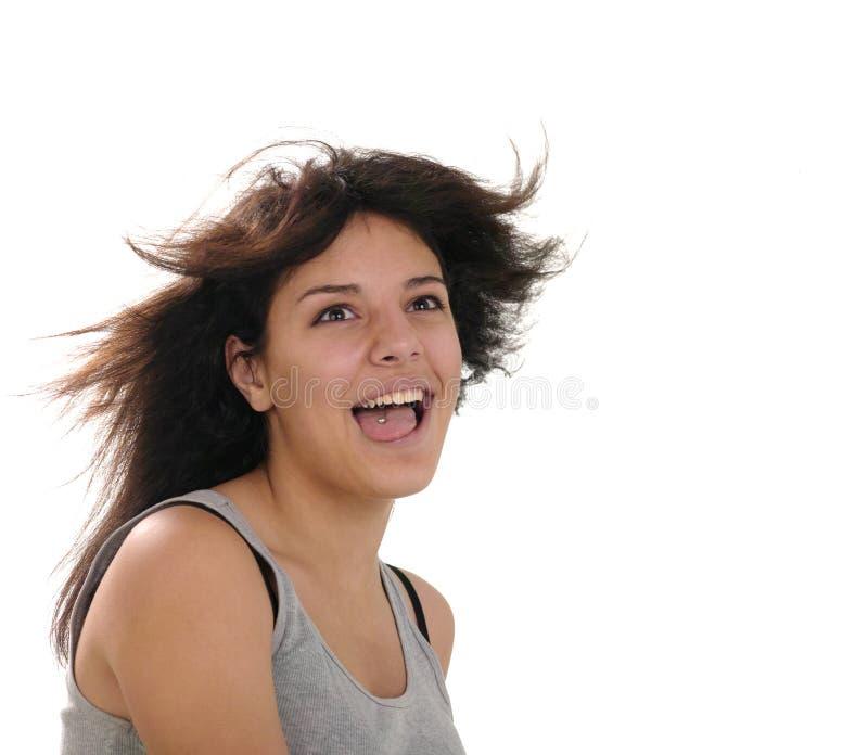 Ragazza abbastanza teenager con i capelli di volo fotografia stock libera da diritti