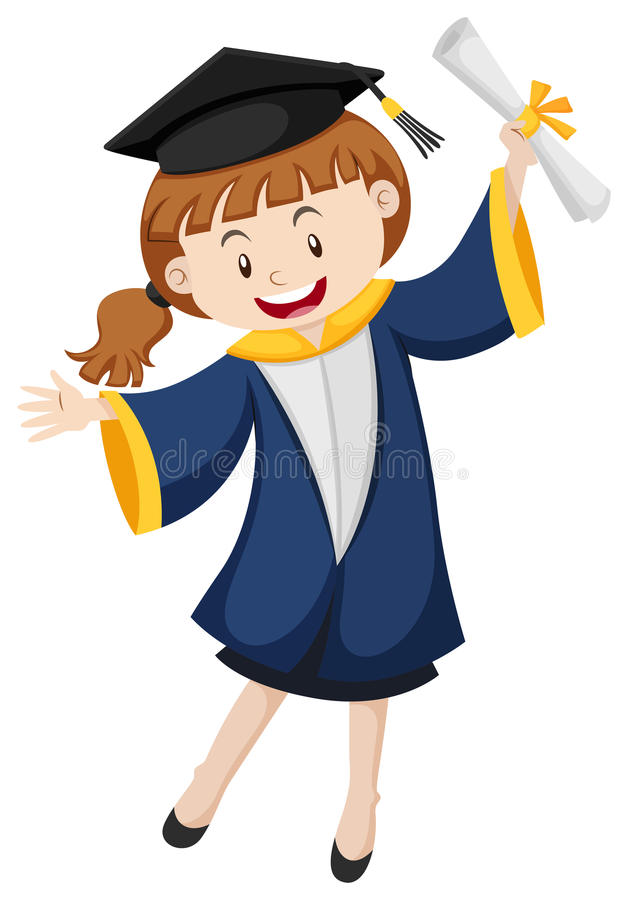 Ragazza in abito blu di graduazione royalty illustrazione gratis
