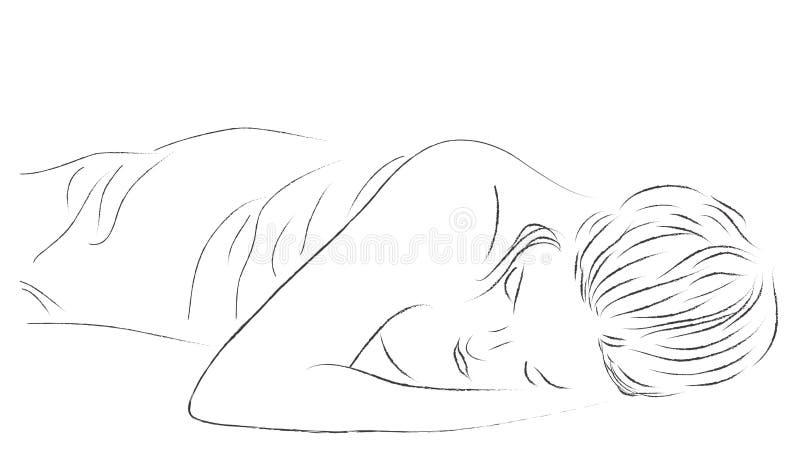 Ragazza addormentata illustrazione di stock