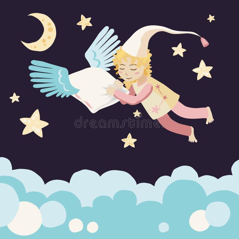 Ragazza addormentata con il cuscino di volo royalty illustrazione gratis