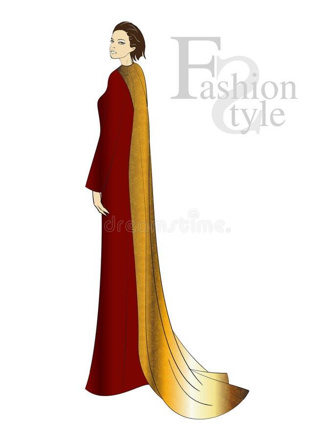 Ragazza adorabile in un vestito da sera rosso illustrazione vettoriale