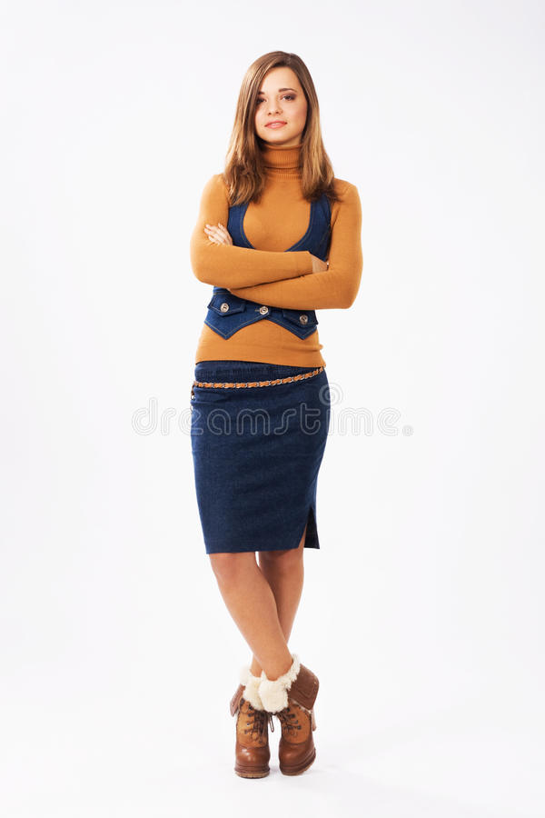 Ragazza adorabile in vestiti alla moda fotografia stock libera da diritti
