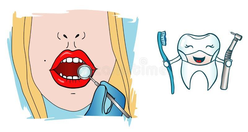Ragazza al dentista illustrazione vettoriale