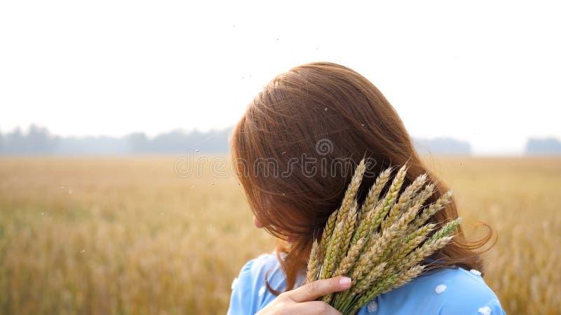 In ragazza all'aperto spazzola le zanzare dei moscerini degli insetti fuori di volata molti insetti, giorno di estate caldo fotografie stock libere da diritti