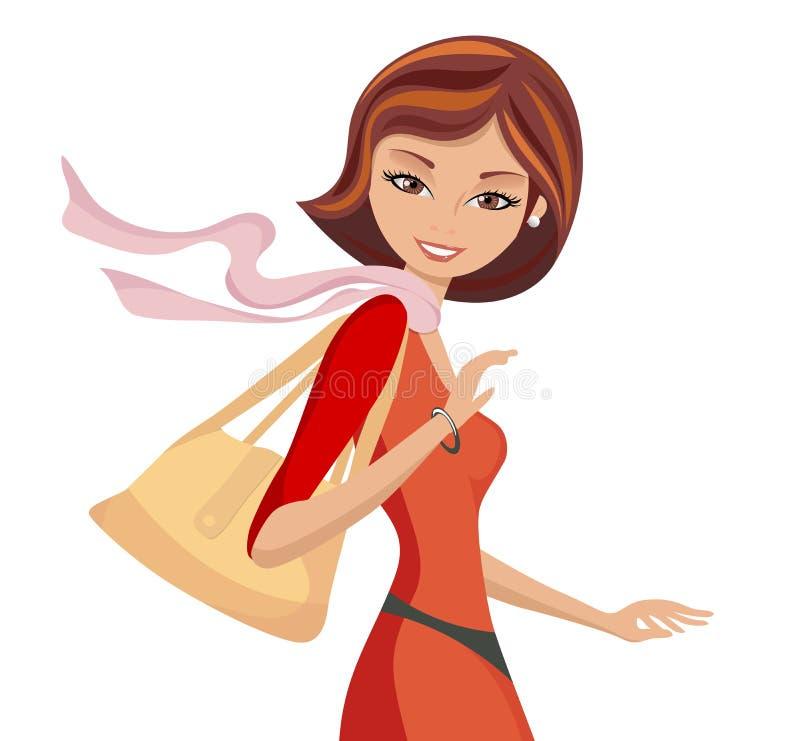 Ragazza alla moda con camminare della borsa illustrazione di stock