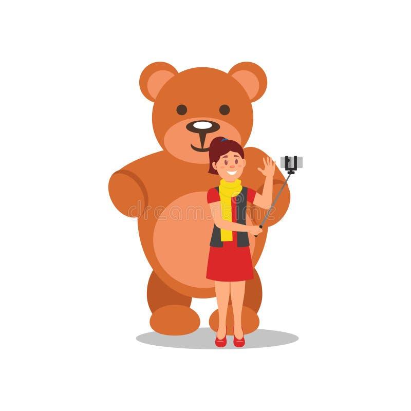Ragazza allegra che fa selfie con il grande orsacchiotto marrone Donna che usando smartphone e monopiede Progettazione piana di v illustrazione vettoriale