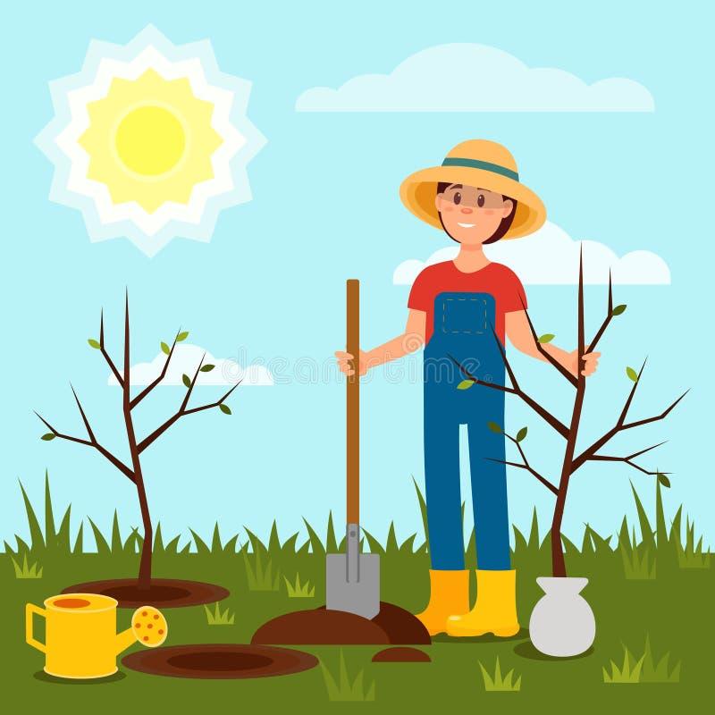 Ragazza allegra che pianta albero Giovane donna che lavora nel giardino Cielo blu e sole luminoso Paesaggio naturale Vettore pian illustrazione di stock