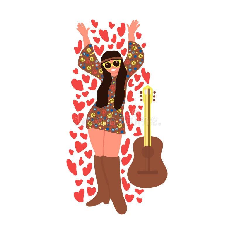 Ragazza allegra di hippy con la chitarra isolata su fondo bianco Illustrazione di vettore illustrazione vettoriale
