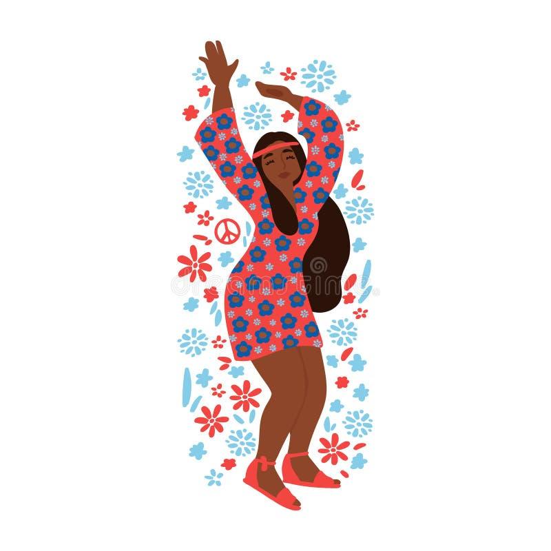 Ragazza allegra di hippy isolata su fondo bianco subcoltura Illustrazione di vettore illustrazione di stock