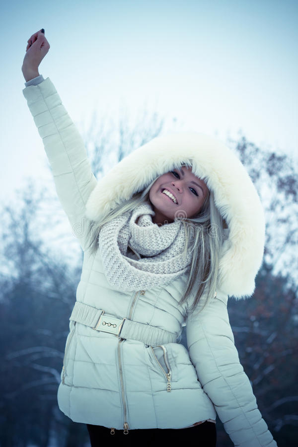 Ragazza allegra di inverno immagine stock