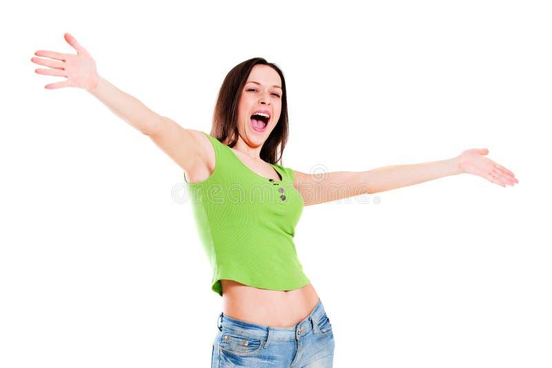 Ragazza allegra in maglietta verde immagine stock libera da diritti