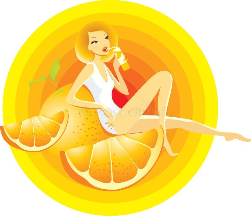 Ragazza arancione illustrazione vettoriale