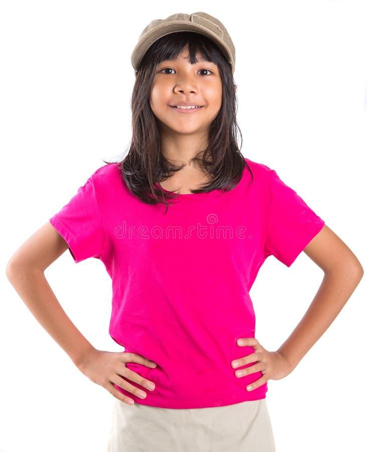 Ragazza asiatica del giovane Preteen con un cappuccio V fotografia stock libera da diritti