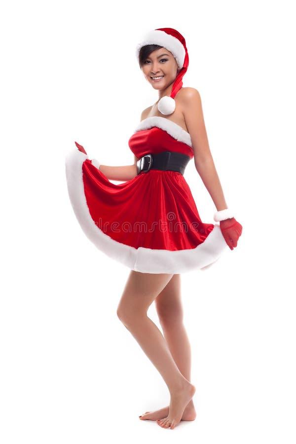 Ragazza asiatica di Natale felice, isolata sopra bianco fotografie stock libere da diritti