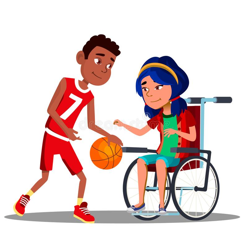 Ragazza asiatica in sedia a rotelle con il ragazzo afroamericano che gioca insieme vettore di pallacanestro Illustrazione isolata royalty illustrazione gratis