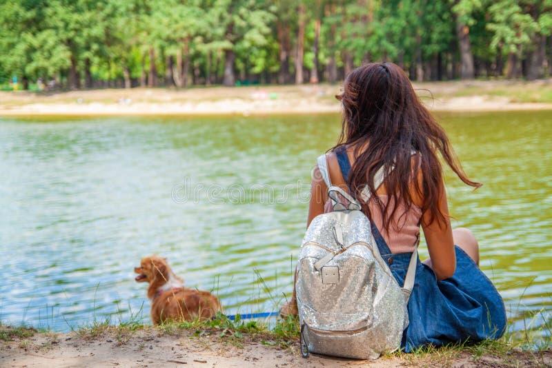 Ragazza asiatica sveglia con poco cane che cammina nel parco Donna che si siede sull'erba verde con il cane - all'aperto in ritra fotografie stock libere da diritti
