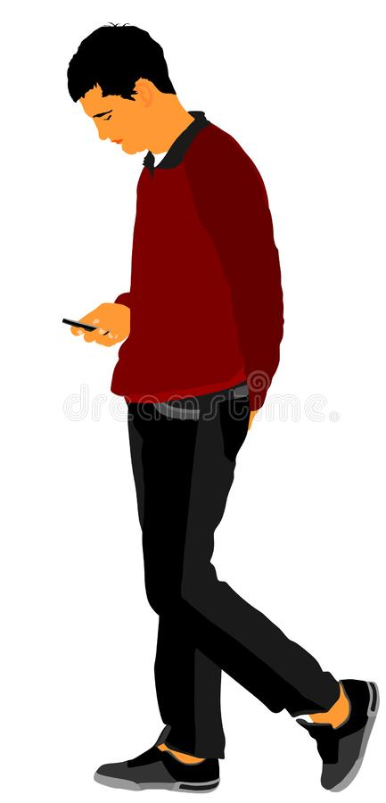 Ragazza aspettante del ragazzo triste sull'illustrazione di vettore della data isolata su bianco Da solo uomo a datare sorveglian illustrazione di stock