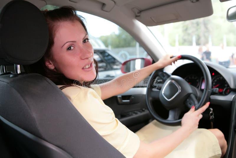 Ragazza in automobile immagini stock