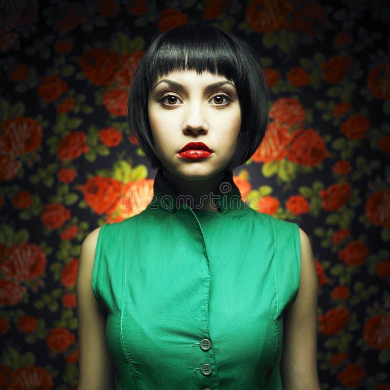 Ragazza-bambola In Vestito Verde Immagine Stock Libera da Diritti