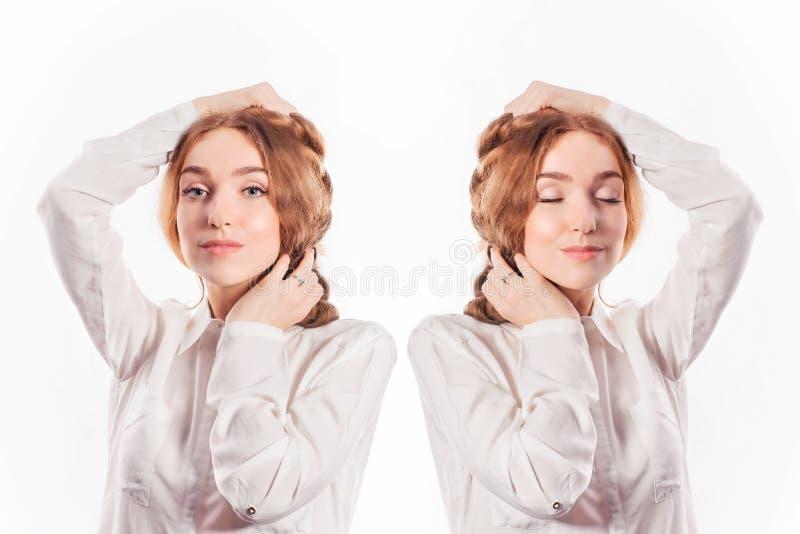 Ragazza bella con capelli lunghi Due ritratti perfetti con la a aperta fotografia stock