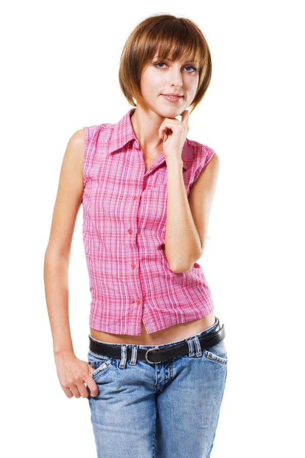 Ragazza bella in vestiti di stile casuale immagini stock libere da diritti