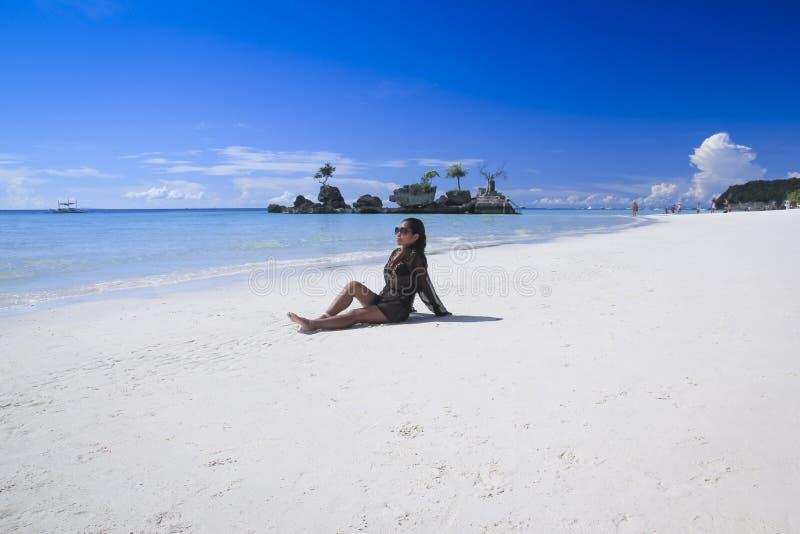 Ragazza bianca Filippine della spiaggia dell'isola di Boracay immagine stock