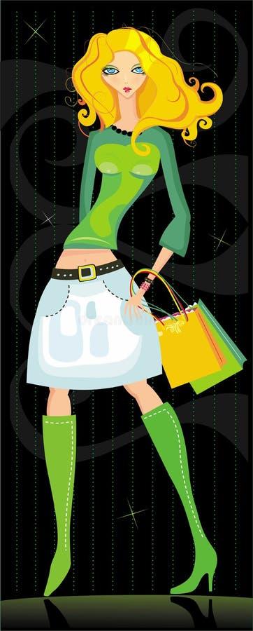 Ragazza bionda con i sacchetti di acquisto illustrazione di stock